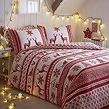 Tony's Textiles - Bettwäscheset mit Deckenbezug - Weihnachten, Schneeflocke, Rentier - Grau/Weiß - Rot / Weiß - Einzelbett