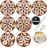 SOSMAR 45 Muster Cappuccino Kaffee Dekorieren Schablonen - für Liebe/Weihnachten/Ostern/Halloween/Hunde/Katze/Kurze Wünsche Sprüche - Schaum Latte Art Barista Dekoration Vorlage