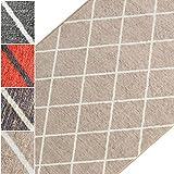 Teppichläufer Cosenza | Rauten Muster im Retro Look | viele Größen | moderner Teppich Läufer für Flur, Küche, Schlafzimmer | Niederflor Flurläufer, Küchenläufer | beige Breite 80 cm x Länge 450 cm
