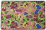 Spielteppich Autoteppich Straßenteppich Sweet City - 200x300cm, Anti-Schmutz-Schicht, Auto-Spielteppich für Mädchen, Kinderteppich Strasse, Fußbodenheizung geeignet