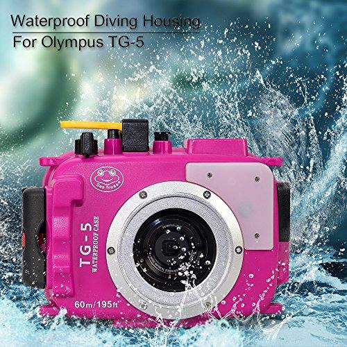 Sea frogs 195 Feet/60 Meter Unterwasser Kamera Gehäuse wasserdichtes Gehäuse für Olympus TG5 Rosa (Gehäuse + Rot Filter)