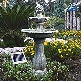 AMUR Solar Gartenbrunnen, Brunnen, Solarbrunnen Zierbrunnen Wasserfall Gartenleuchte Teichpumpe für Terrasse, Balkon, verbessertes Modell mit Pumpen-instant-Start-Funktion mit Liion-Akku & Led-Licht