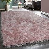 Shaggy Hochflor Teppich Modern Soft Garn Mit Glitzer In Uni Pastell Rosa, Grösse:80x150 cm
