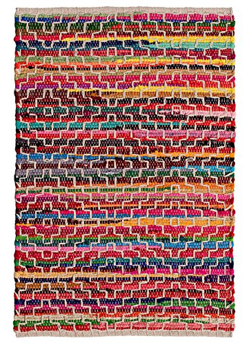 Second Nature Online Mandira Flickenteppich aus recycelter Baumwolle, mit Stickerei, 60 x 90 cm, Mehrfarbig