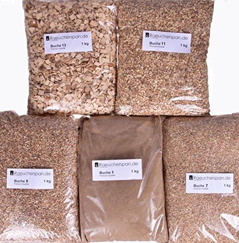 Räucherspäne Räuchermehl, Buche, 5kg, 5 Typen a 1kg zum Kalt- und Heißräuchern, Sparpaket