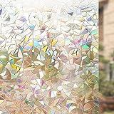 Rabbitgoo 3D Fensterfolie Fensterschutzfolie Dekorfolie Sichtschutzfolie Selbsthaftend Anti-UV 44.5*200cm