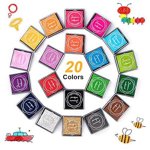 phixilin Stempelkissen Set, Fingerabdruck Ungiftig Abwaschbar Stamp Pad Tinte Bunt Stempelkissen für Leinwand Hochzeit, Papier Handwerk Stoff, Scrapbook, Geburtstag (20 Pack)