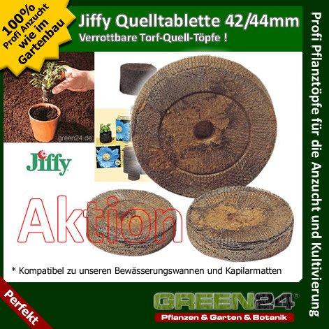 50 St. Jiffy von GREEN24 Original Quell-Tabletten 44mm Torf-Quelltöpfe Aussaaterde Anzuchterde Torftablette mit Anleitung