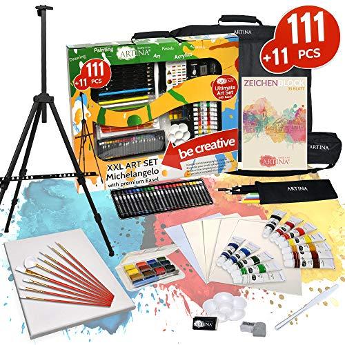Artina 122 Teile XXL Mega Malset Staffelei Set – Komplett Malset Acryl, Zeichenset, Buntstifte, Farbset, Leinwand, Pinselset für Erwachsene & Kinder