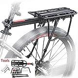 Mountainbike Gepäckträger,ZOOYAUE Einstellbare Träger Fahrrad Gepäckträger,Maximalbelastung 100kg,Aluminiumlegierung,Schnelle Installation,mit Reflektor