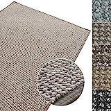 Kurzflor Teppich Carlton | Flachgewebe dezent gemustert | robuster Schlingenteppich in vielen Größen | als Wohnzimmerteppich, Küchenteppich, Schlafzimmerteppich (Grau-Beige - 160x160 cm)