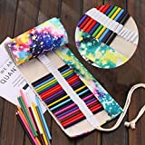 Leinwand Stifterolle, Asnlove Retro Pencil Wrap Roll up Holder Rollentasche Federmappe Schlamperrolle Mäppchen Bleistiftkasten für 48 Löcher Farbige Stifte für Buntstift aus Canvas für Make up / Schule / Büro / Kunst, Sternenhimmel