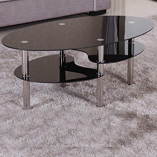 Euro Tische Couchtisch Glas mit 8mm Sicherheitsglas & Facettenschliff - Glastisch perfekt geeignet als Beistelltisch/Wohnzimmertisch (98x58x42cm, Schwarz/Schwarz)
