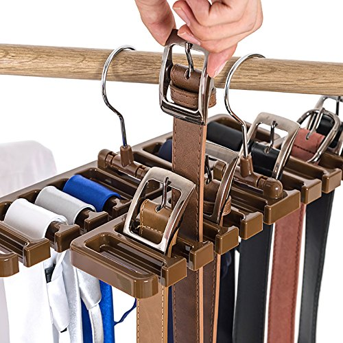 10Slot Krawatte Gürtel Schal Rack Organizer Stabiler Kunststoff Closet Space Saver Gürtel Garderobenbügel mit Metall Haken, braun, 10 Slot