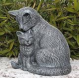 Stein-figur Katze mit Jungtier - Schiefergrau, wetterfeste Katzenfigur als Deko-Figur für Wohnung, Haus und Garten