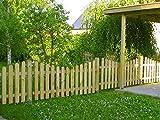 Komplettset Holzzaun 4m–38m wählbar (dieses'Standard' Paket ist 9,60m) Zaun inkl. allem Zubehör Staketenzaun 100cm Höhe nach unten gebogene Form - V2A Schrauben verschraubt - aus frischem Holz - kdi