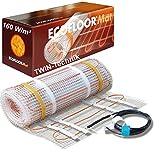 ECOFLOOR Fußbodenheizung elektrisch 160 Watt/m² Größe wählbar 1- 12m² Fußboden-Heizmatte Twin (3 m² = 6 m Länge)
