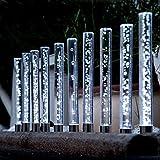 Edelstahl/ Acryl Solar LED Garten Sticks, 10 er Set. Solarleuchte mit extra großem Solarpanel und Dämmerungssensor. Leuchte, Lampe, Wegeleuchte, Wegbeleuchtung, Garten, Terrasse