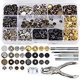 Hakkin 146 Set Snap Druckknöpfe Zange Spielanzug Kupfer Bronze Kleidung Snaps Taste Handwerk Werkzeug mit Fixierwerkzeug Kit für Leder Handwerk Jacke Brieftasche