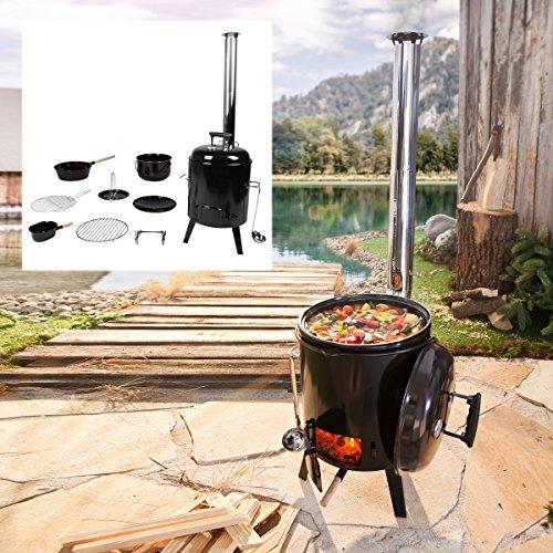 Eintopfofen mit Grillfunktion Ofen Kugelgrill Grill Outdoor-Küche Gulaschkanone Suppenkessel Hähnchenbräter Ungarischer Gulaschkessel aus Stahlblech emailliert Dreibein inkl. Zubehör