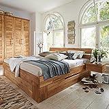 Pharao24 Doppelbett aus Wildeiche Massivholz Bettkasten Breite 186 cm inkl. 2 Nachtkommoden Liegefläche 180x200