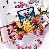 VPCOK Badewannen ablagen verstellbare Bambus Badewanne Tablett, Badewanneneinsatz, Badetisch für Tablett, Smartphone, Buchrahmen, Weinglashalter, präsentierbares Geschenk (WEHRWEG)
