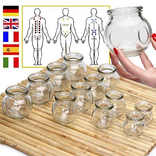 Lunata 12er Schröpfgläser-Set zum Feuerschröpfen, Anti-Cellulite Saugglocke, Massageglas, FEUER-Schröpfgläser für eine professionelle Schröpfmassage