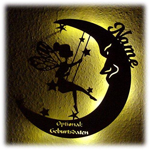 Schlummerlicht Leuchtsterne Nachtlicht Led Lampe personalisiert 'Schaukel Fee auf Mond' Geschenke zur Geburt Geschenk mit Name Geburtsdaten persönlich Mädchen