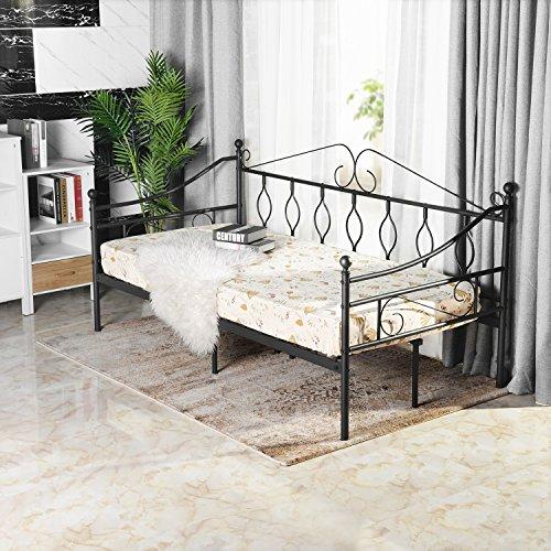 Aingoo Tagesbett Metallbett mit Bettrahmen für Schlafzimmer Wohnzimmer Balkon (Schwarz)