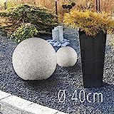 LED Garten Leuchtkugel Gartenleuchte 40cm in Stein Optik Granit matt für Außen IP65 mit OSRAM 10W E27 LED warmweiß Kugelleuchte inkl. 3m Kabel