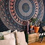 New Indian Elephant Peacock Mandala Tapestry ,Indian Hippie Tapestry, Wall Hanging,Bohemian Wall Hanging,New Age Tapestry,Mandala Typestry (Double (240x220 cms))