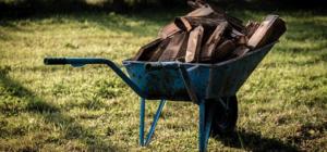 Eine blau gefärbte Schubkarre, in der sich Holz befindet. Es soll an einen neuen Ort transportiert werden. Die Schubkarre steht auf grünem Rasen.