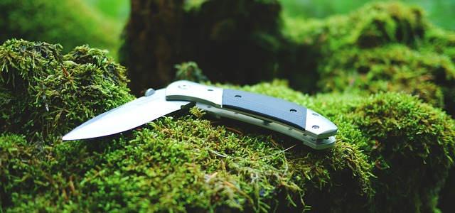 Ein klappbares Jagdtaschenmesser auf dem Moos liegend.
