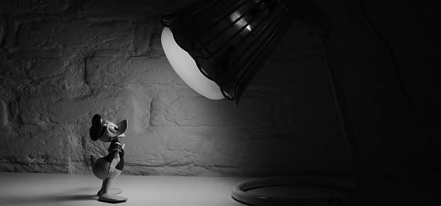 Eine Donald Duck Figur vor einer Lampe stehend. Das Bild ist schwarz weiß